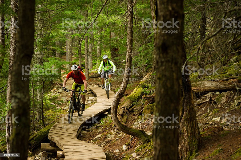 Mountain Biking Couple stock photo