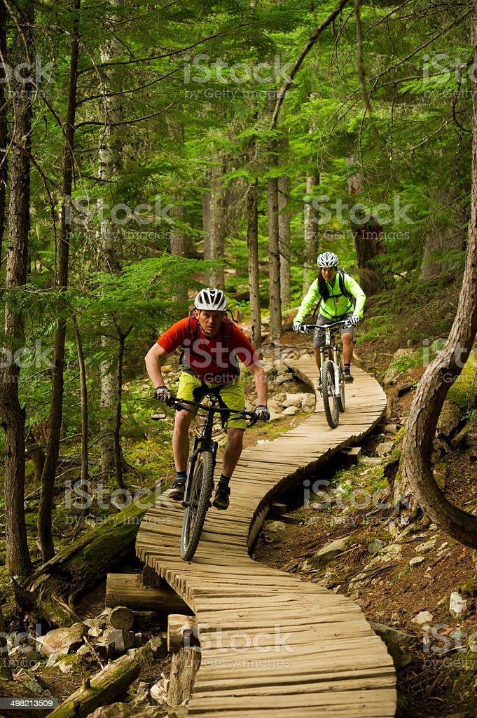 Mountain Biking Couple stock photo