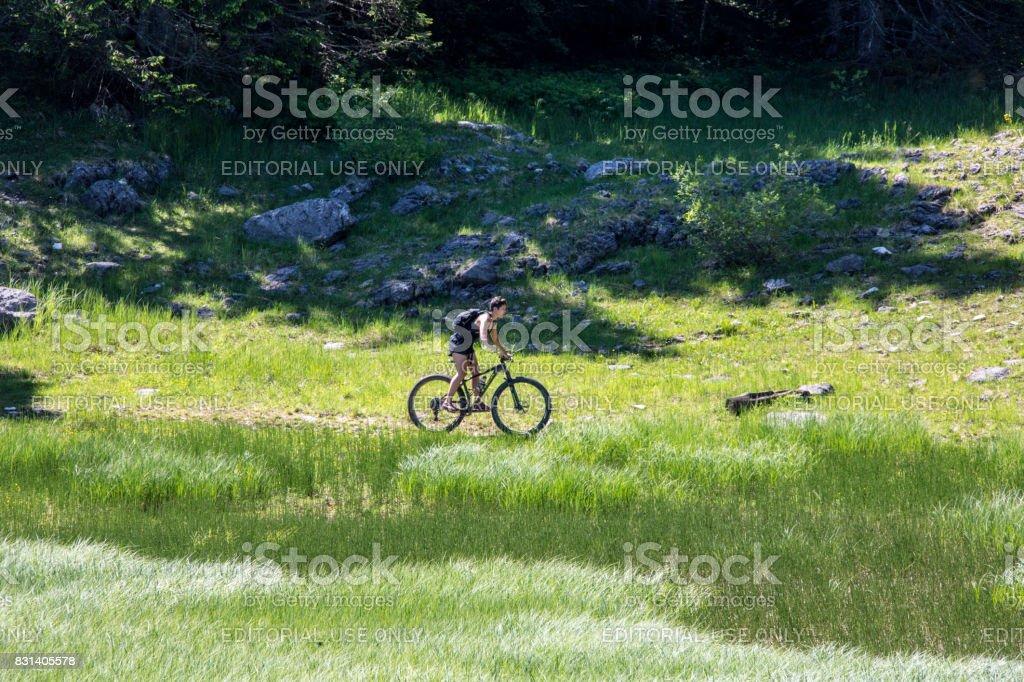 Mountain biking Durmitor Nationalpark Montenegro stock photo
