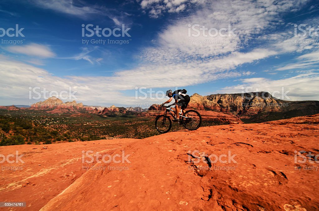 Mountain biking in Arizona stock photo