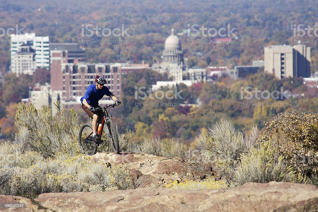 Mountain biking in Boise, Idaho stock photo