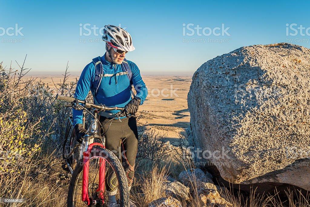 mountain biking in Colorado foothills stock photo