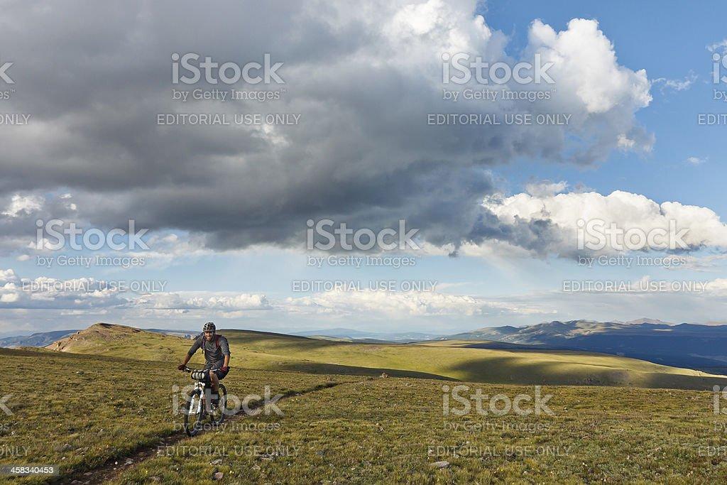 Mountain Biking in the Alpine Tundra royalty-free stock photo