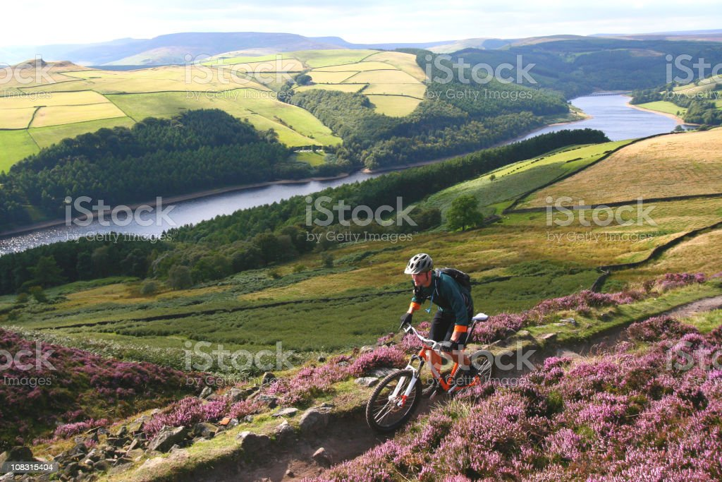 Mountain Biking in The Peak District National Park stock photo