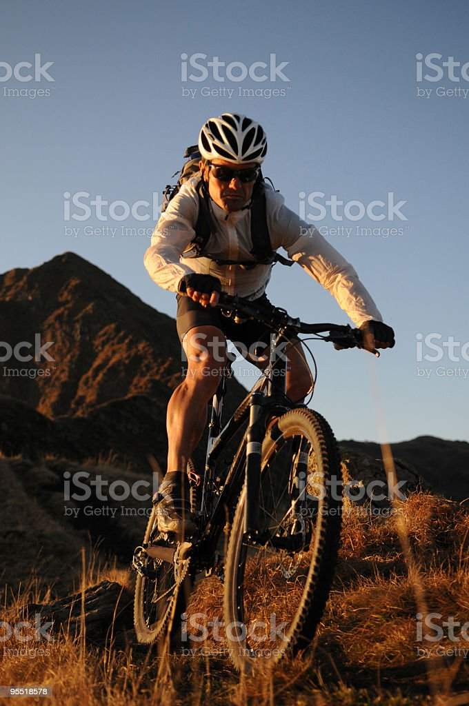Mountain Biking in the sunset royalty-free stock photo