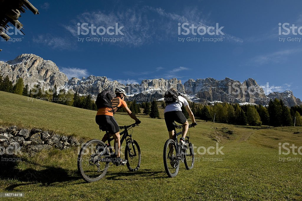 Mountain Biking into the south Tyrolean Dolomites stock photo