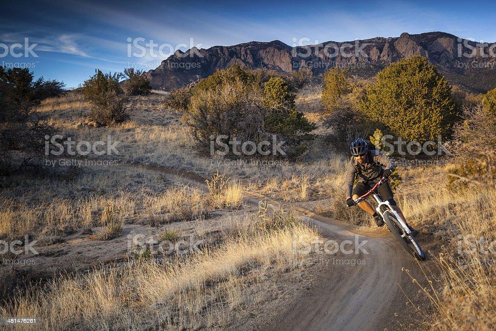 mountain biking landscape stock photo