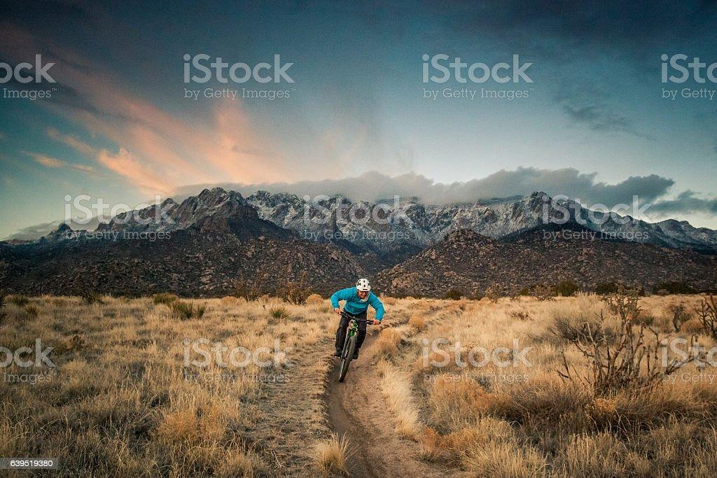 mountain biking nature and adventure stock photo
