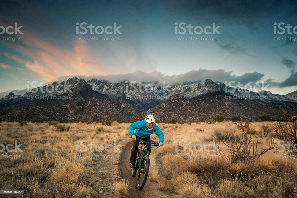 mountain biking nature and adventure stock photo