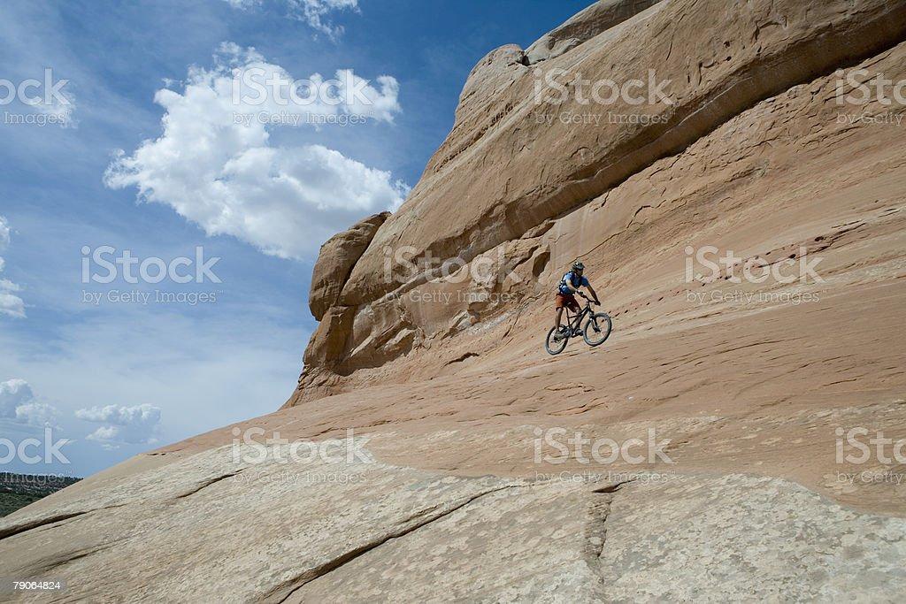 Mountain biking on looking glass rock stock photo