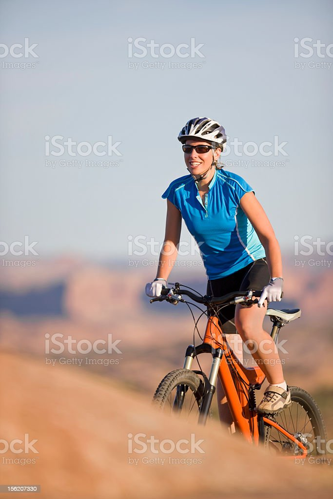 Mountain Biking On Slickrock Trail Near Moab, Utah royalty-free stock photo