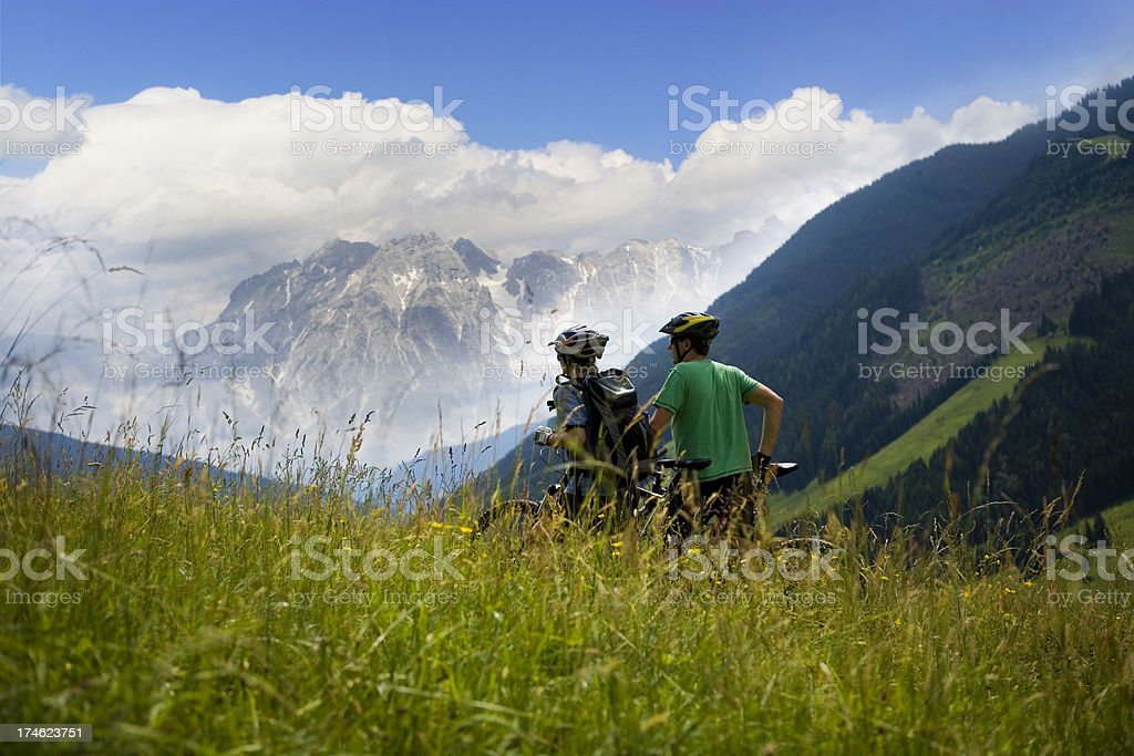 Mountain biking panorama royalty-free stock photo