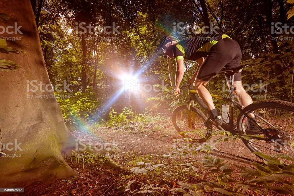 Mountain Biking racing i haze stock photo