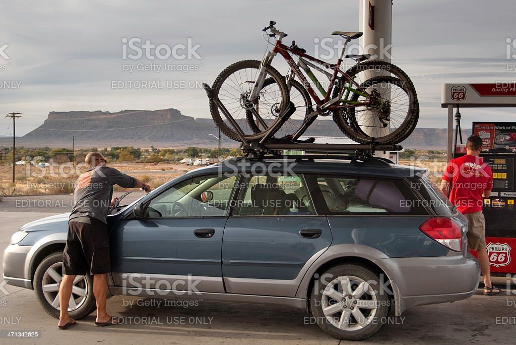 mountain biking road trip stock photo