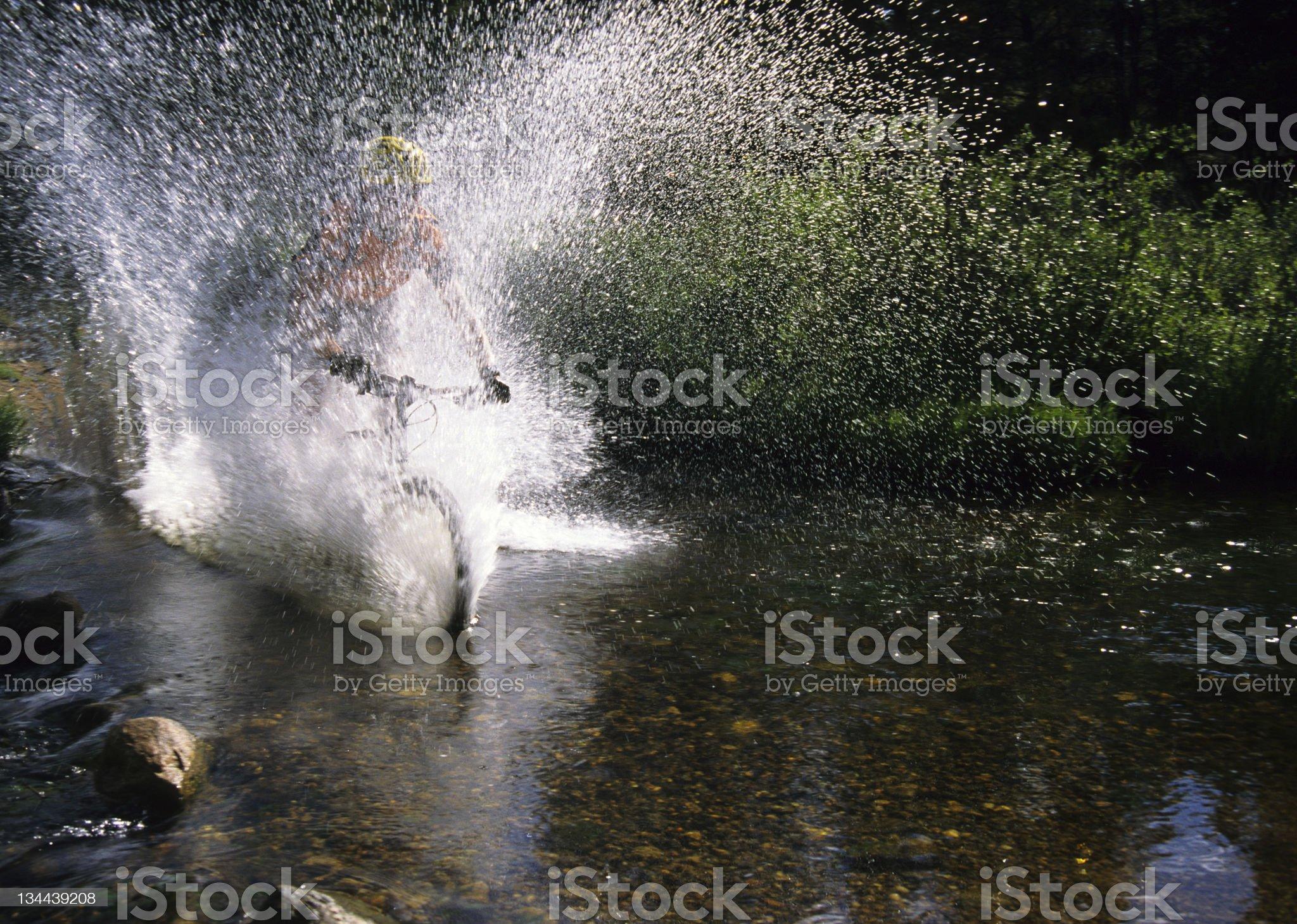 Mountain Biking Splash royalty-free stock photo