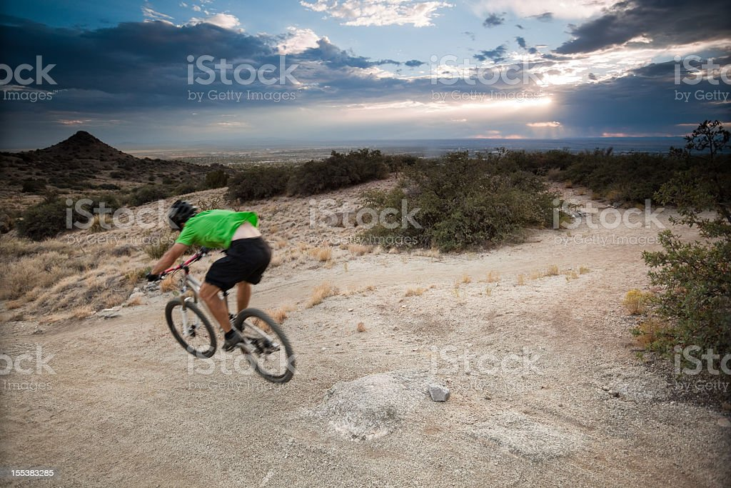 mountain biking sunset landscape royalty-free stock photo