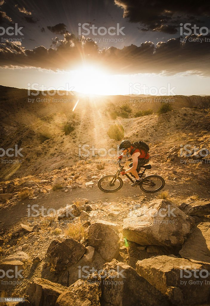 mountain biking sunset landscape royalty-free stock photo