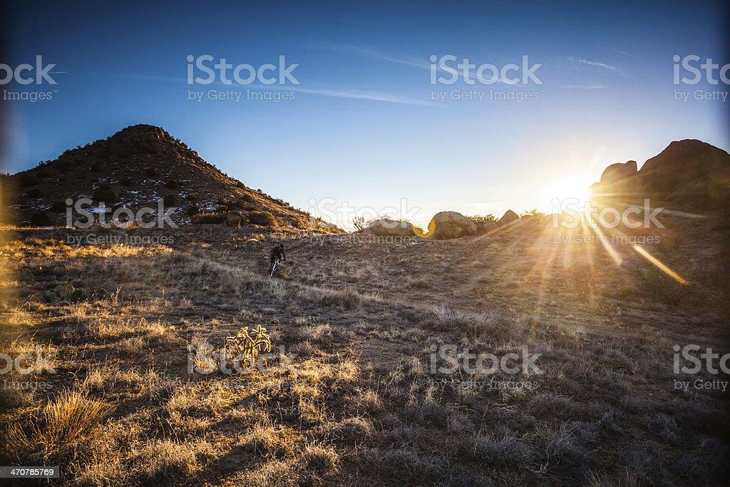 mountain biking sunshine landscape royalty-free stock photo