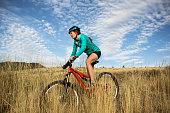Mountain Biking Woman in The Mountains of The Western U.S.