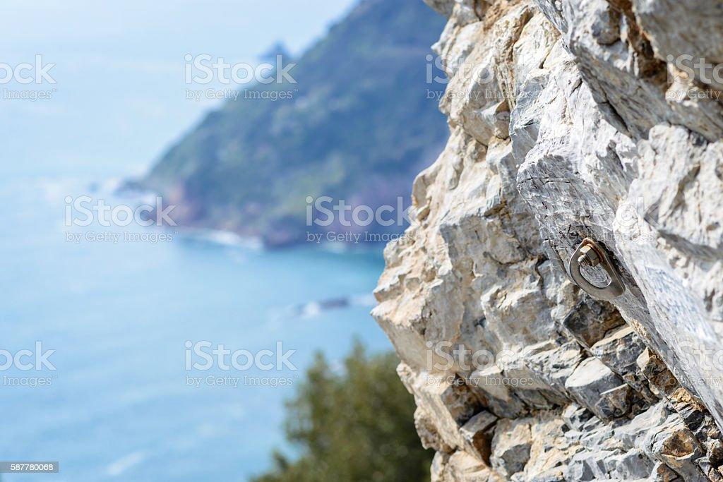 mountain bolt, climbing gear stock photo