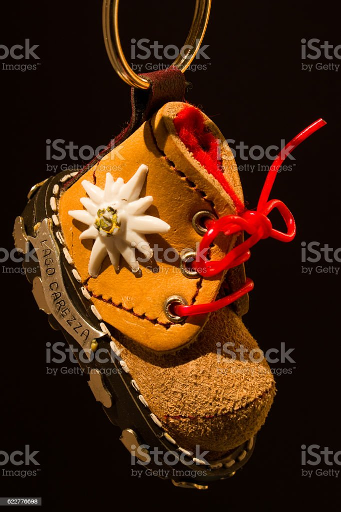Mountain boot keychain stock photo
