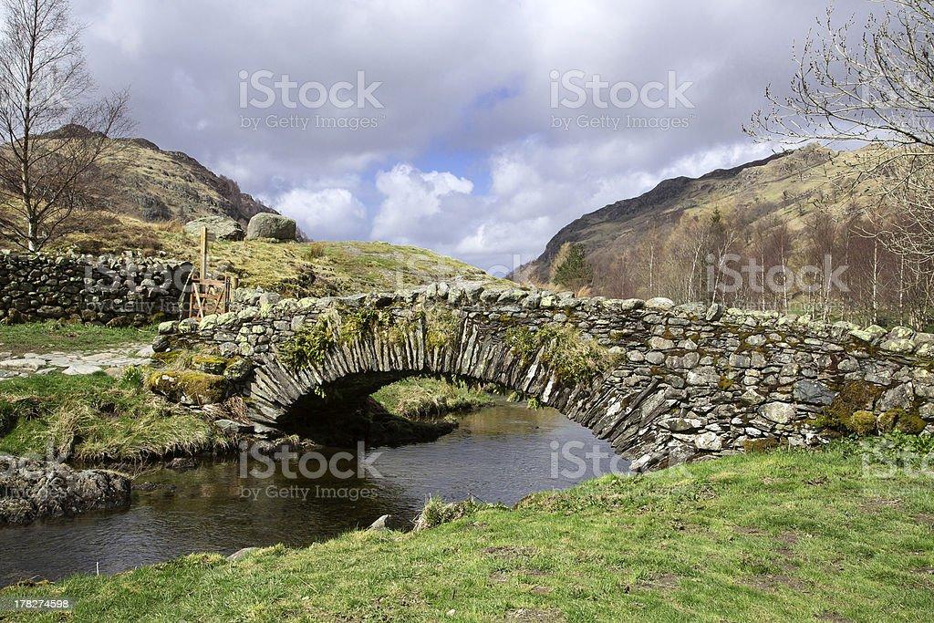 Mountain Bridge in the English Lake District stock photo