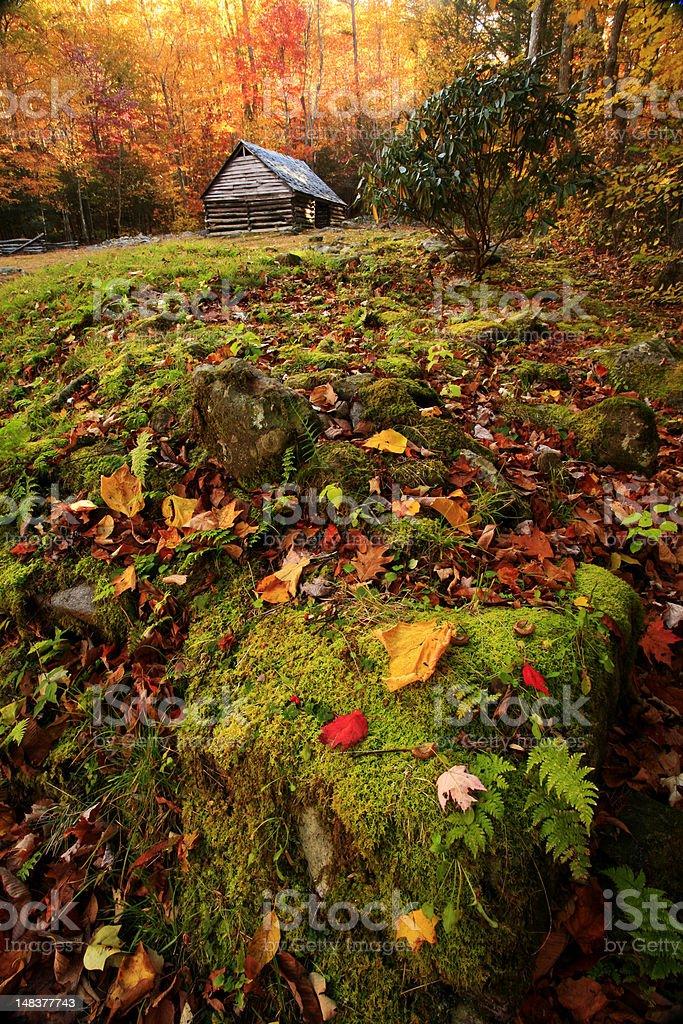 mountain cabin in autumn royalty-free stock photo