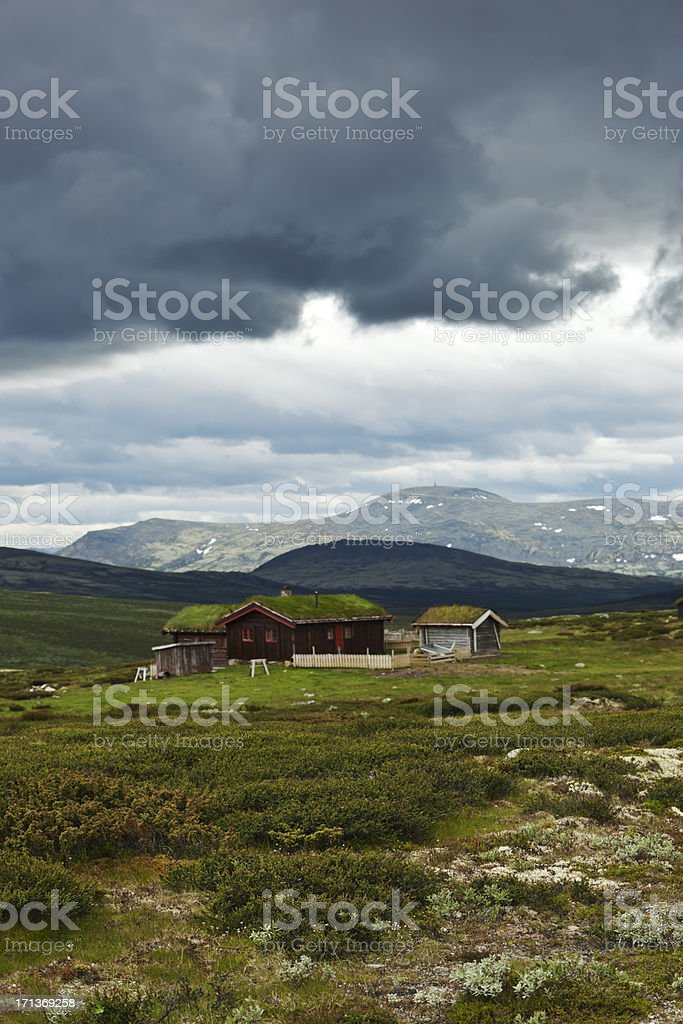 Mountain cabins in summer. royalty-free stock photo