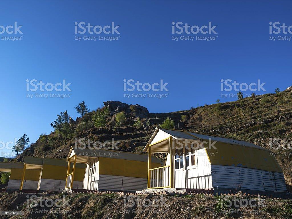 Mountain camp - Himalayas stock photo