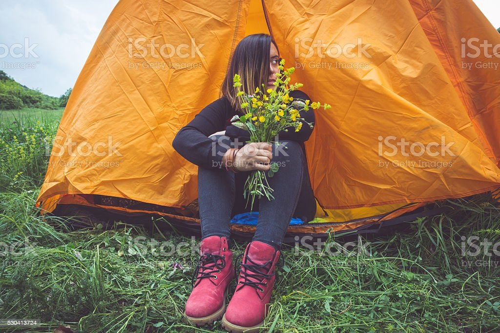 Mountain camping stock photo