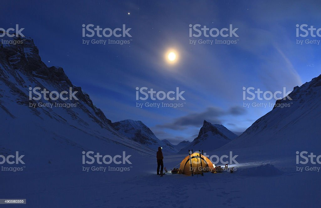 Mountain campsite stock photo