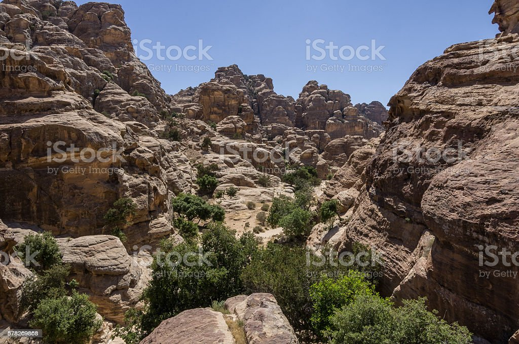Mountain canyon near Siq al-Barid in Jordan. stock photo