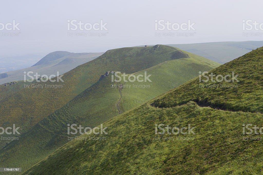 mountain chain hiking trail auvergne stock photo