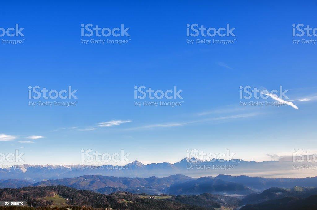 Mountain chain in Slovenia stock photo