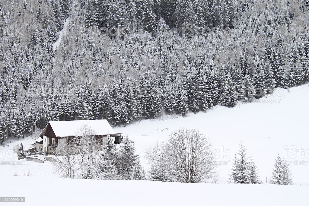Mountain chalet in a winter landscape royalty-free stock photo