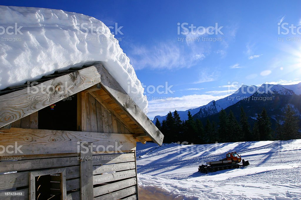 mountain chalet in the snow royalty-free stock photo