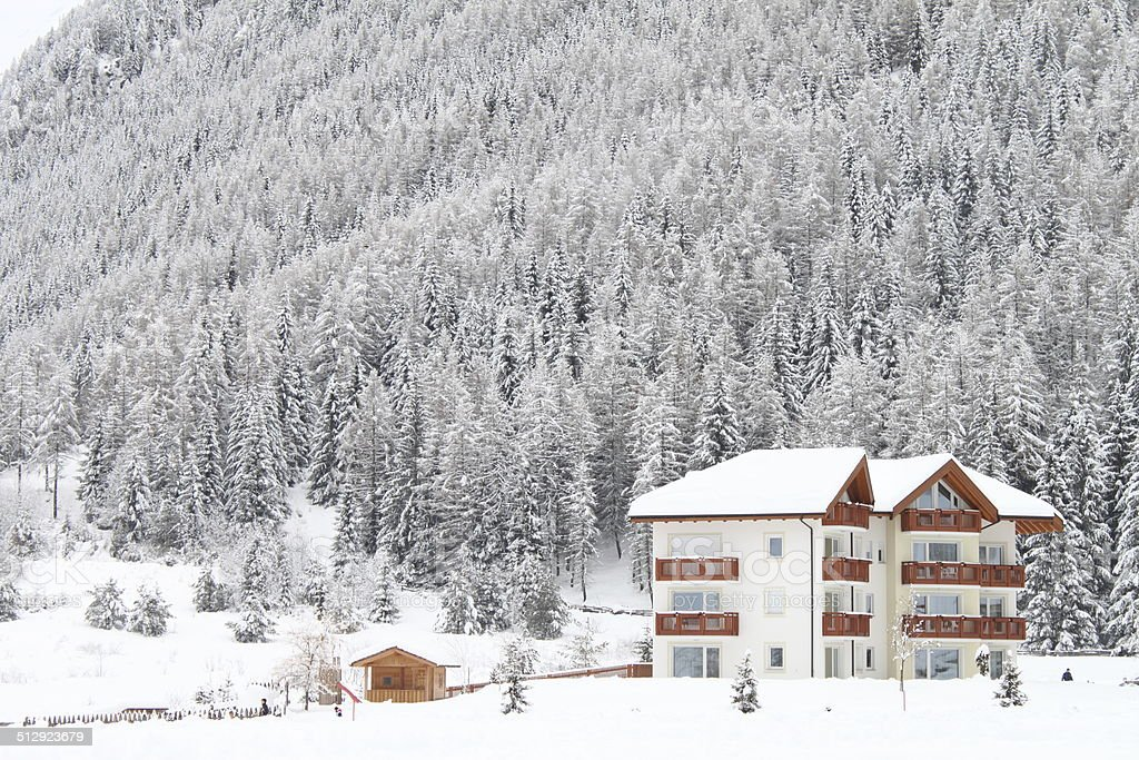 Mountain chalets in a winter landscape royalty-free stock photo