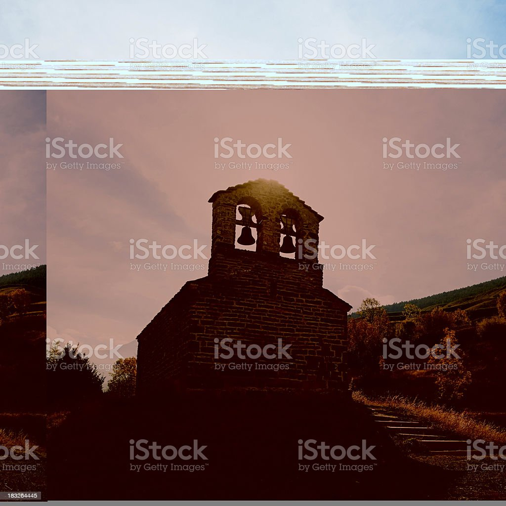 Mountain church in the Pyrenees stock photo