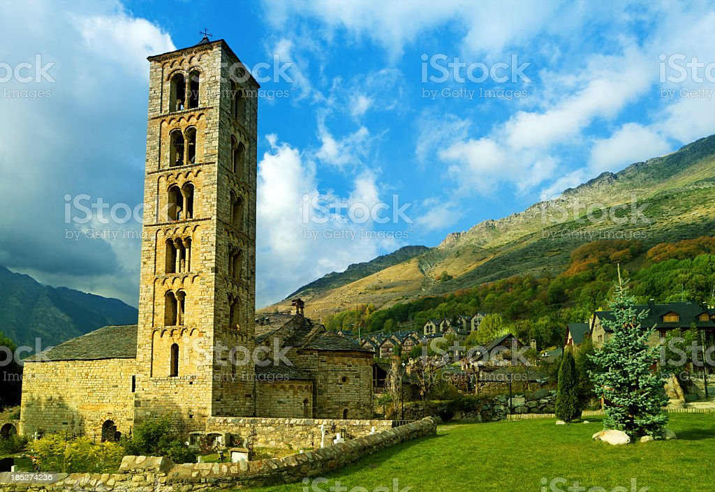 Mountain church in the Pyrenees royalty-free stock photo