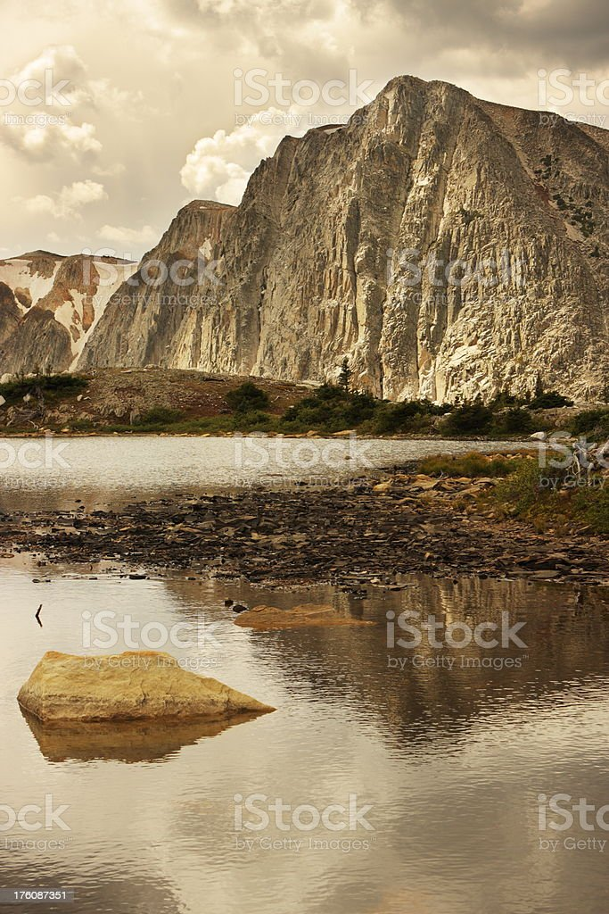 Mountain Cliff Storm Lake Landscape royalty-free stock photo