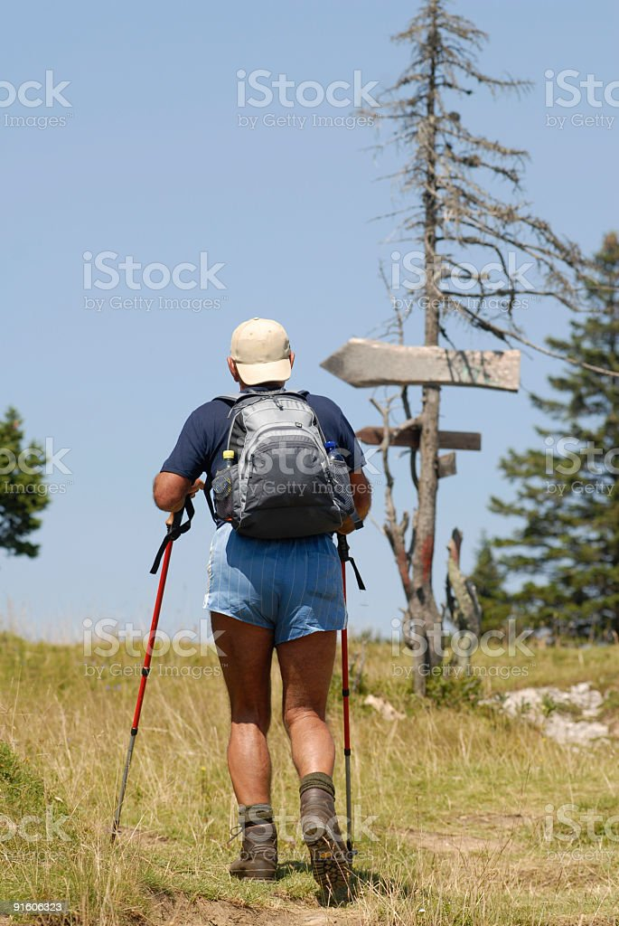Mountain climber at the Crossroads royalty-free stock photo