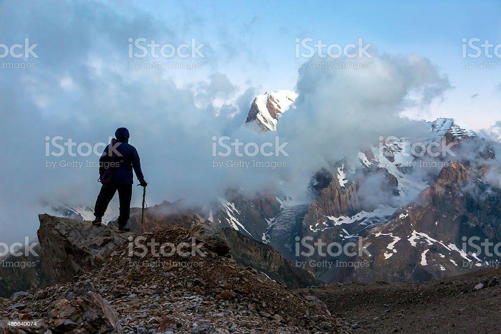 Mountain Climber on Summit stock photo