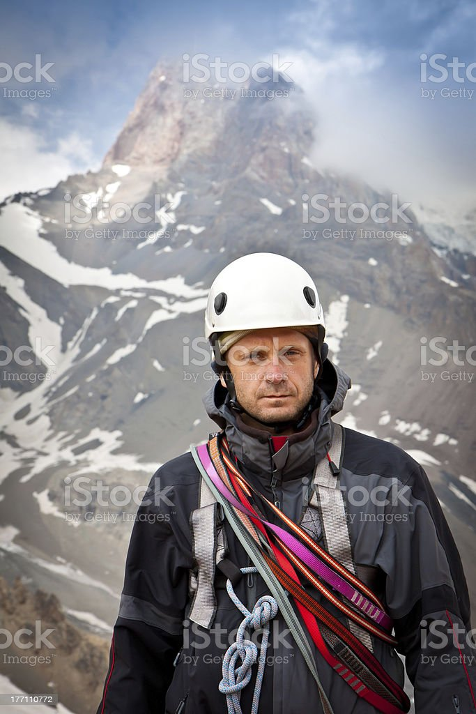 Mountain Climber on the top royalty-free stock photo