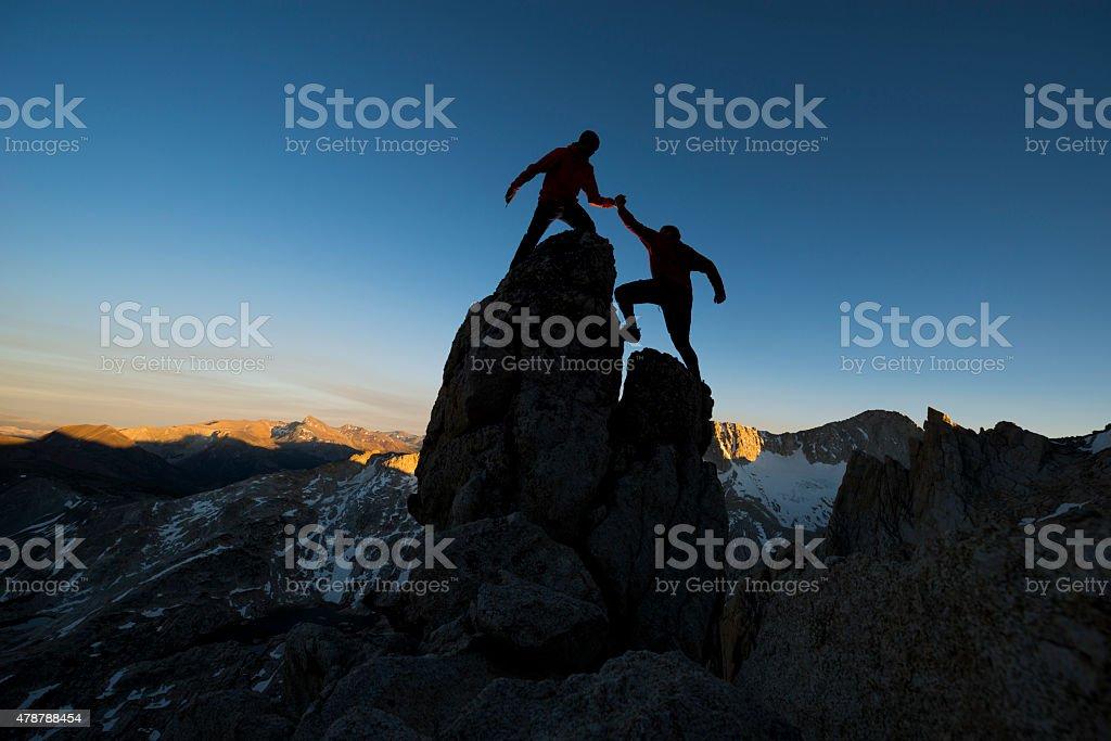 mountain climbers stock photo