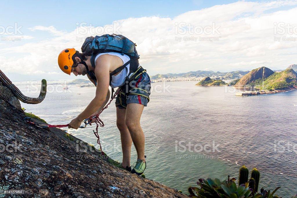 Mountain climbing at Sugarloaf mountain stock photo