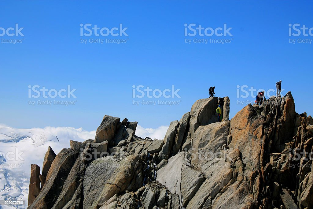 Mountain climbing expedition stock photo