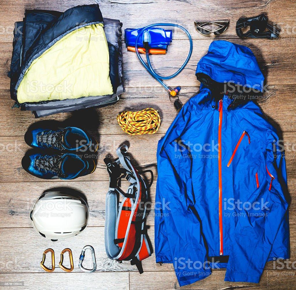Mountain climbing gear stock photo