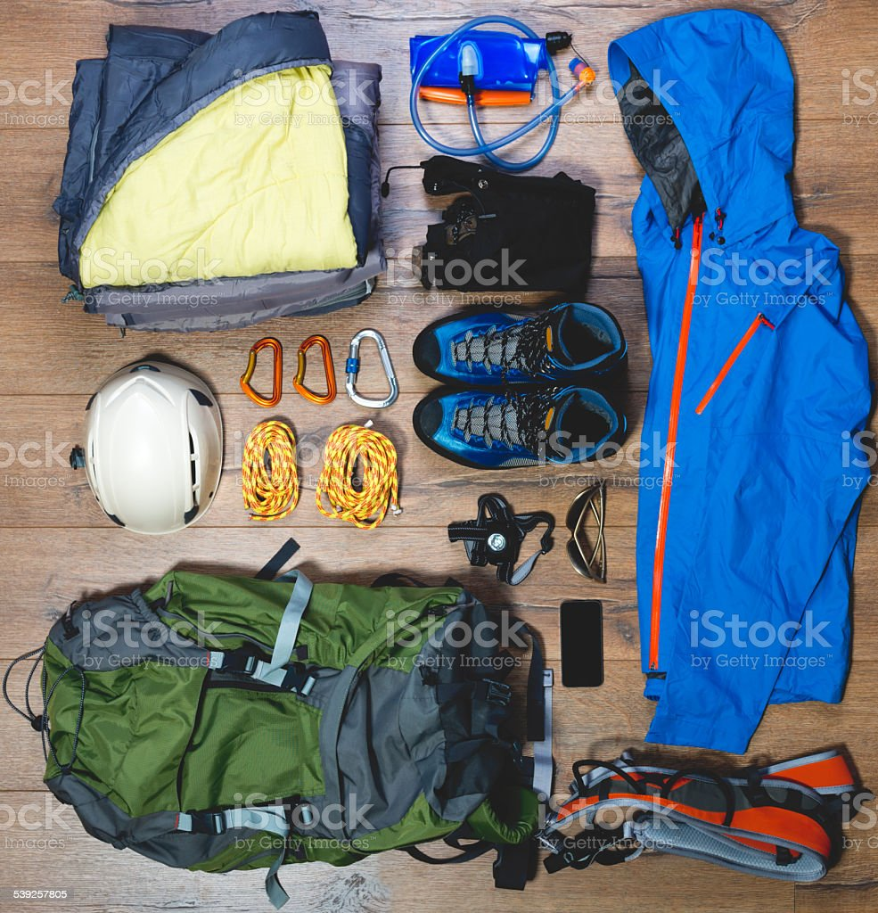 Mountain climbing gear stock photo