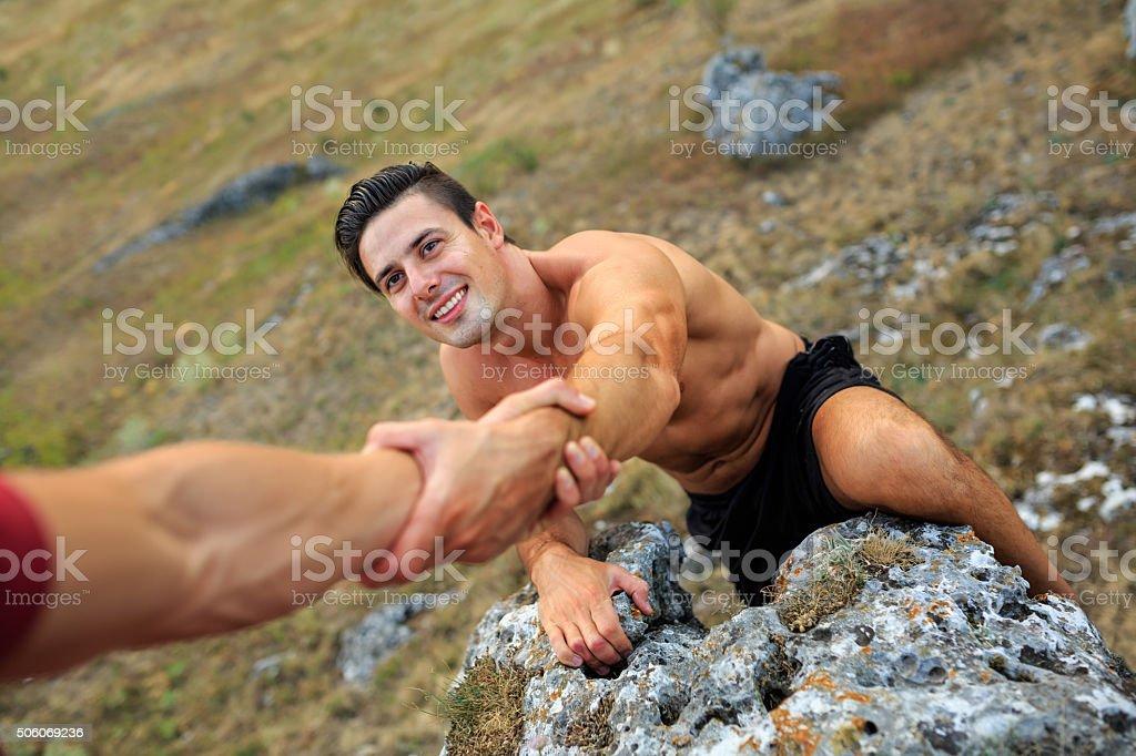 Mountain Climbing, Hiking stock photo