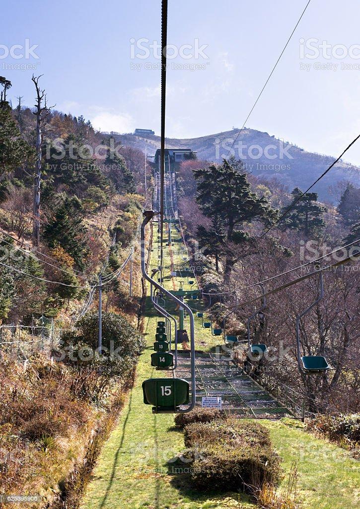 Mountain climbing lift stock photo